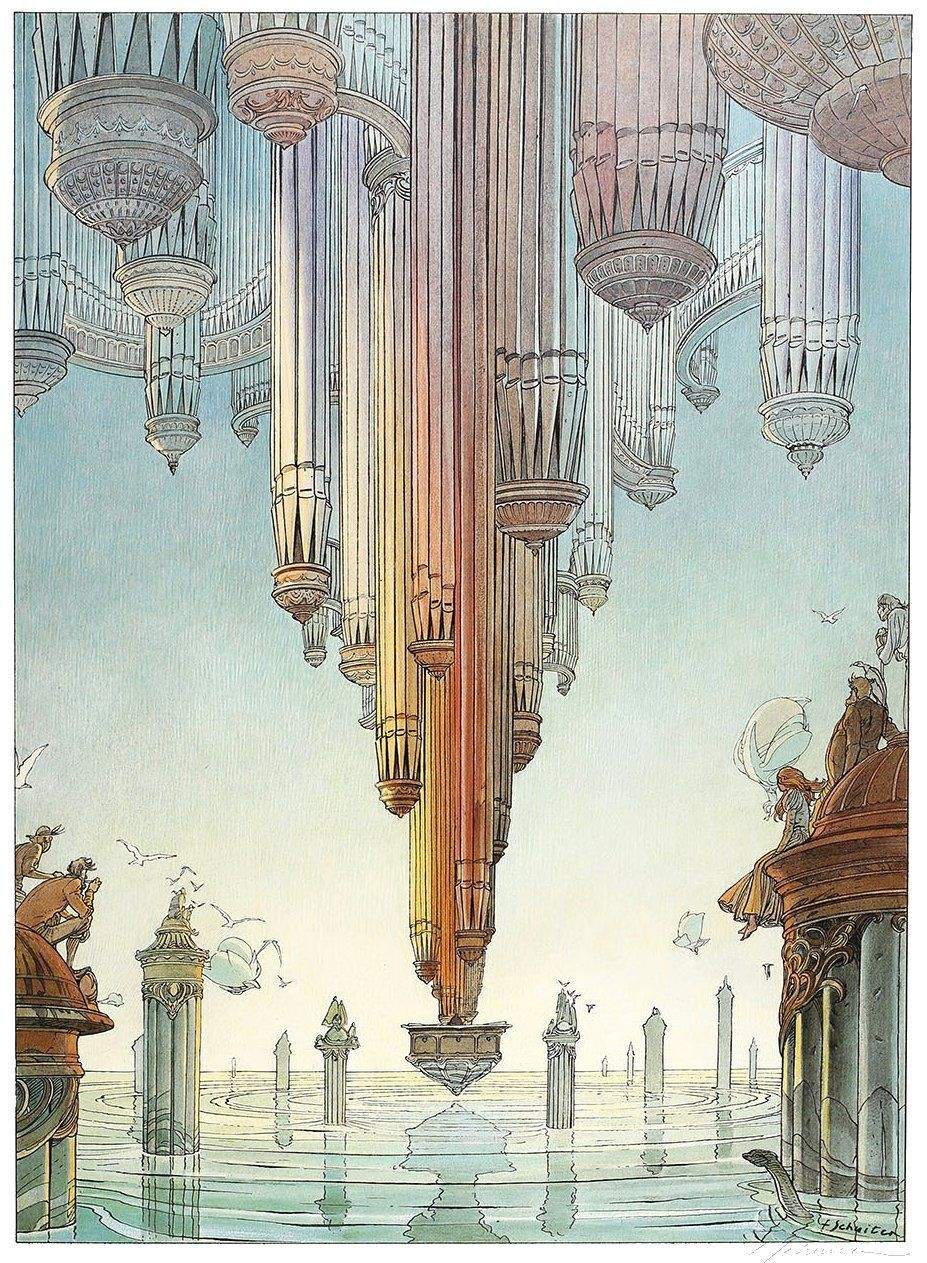 Strange floating city by François Schuiten